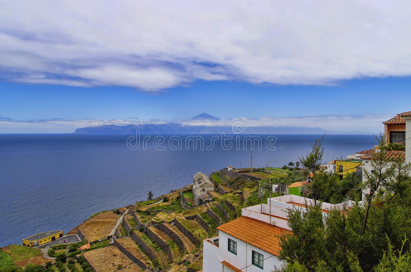 The panoramic view from Agulo town. La Gomera, Canary Islands, Spain stock photography