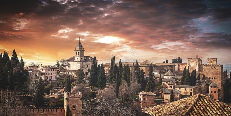 Spain Granada Al Hambra Palace Sunset royalty free stock image