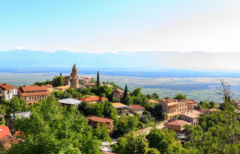 Panoramic view of the Alazani valley from the height of the hill. Panoramic view of the Alazani valley and Sighnaghi. Kakheti region, Georgia stock photo