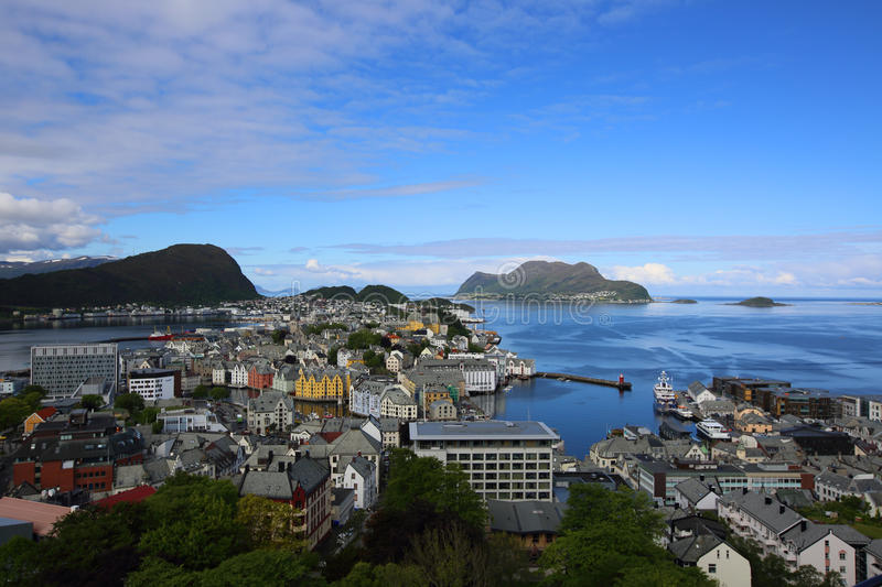 Panoramic View on Alesund, Norway royalty free stock image