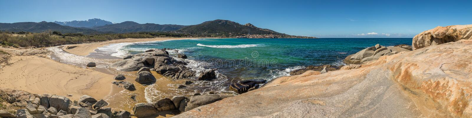 Panoramic view of Algajola beach and village in Corsica royalty free stock photo
