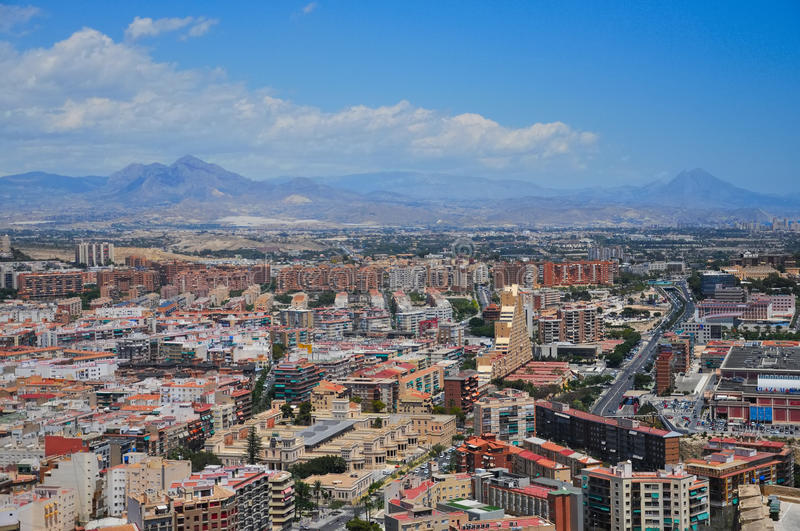 Panoramic view of Alicante city from the watchtower Santa Barbara castle. Valencia province, Spain. stock photography