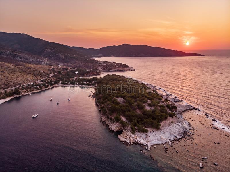 Panoramic view of Aliki gulf and yacht harbour and the ancient marble port and quarry visible to the right. Thasos or Thassos is an island in the Aegean Sea royalty free stock photos