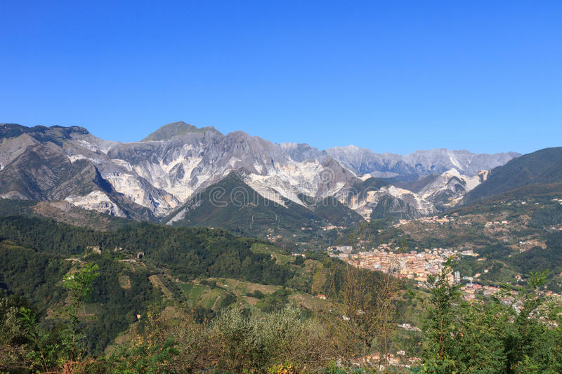 Panoramic view of Alpi Apuane mountain chain in Tuscany, Italy royalty free stock images