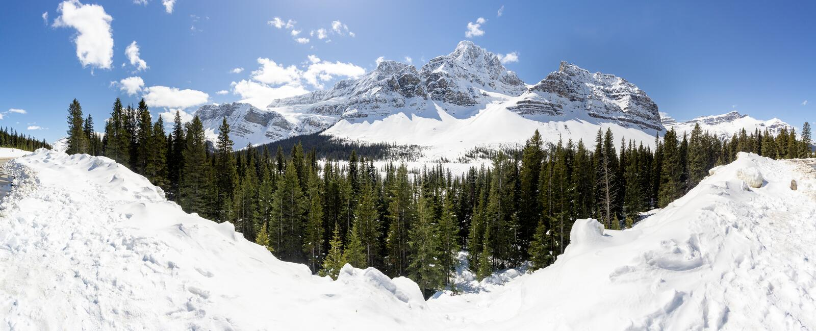 Panoramic View of Alpine Mountains royalty free stock images