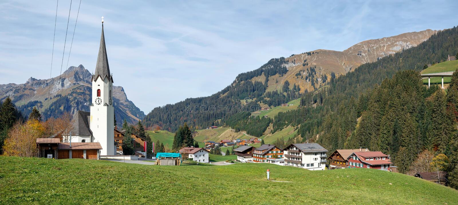 Panoramic view of the alpine village Schroecken in the fall. State of Vorarlberg, Austria, Europe stock images