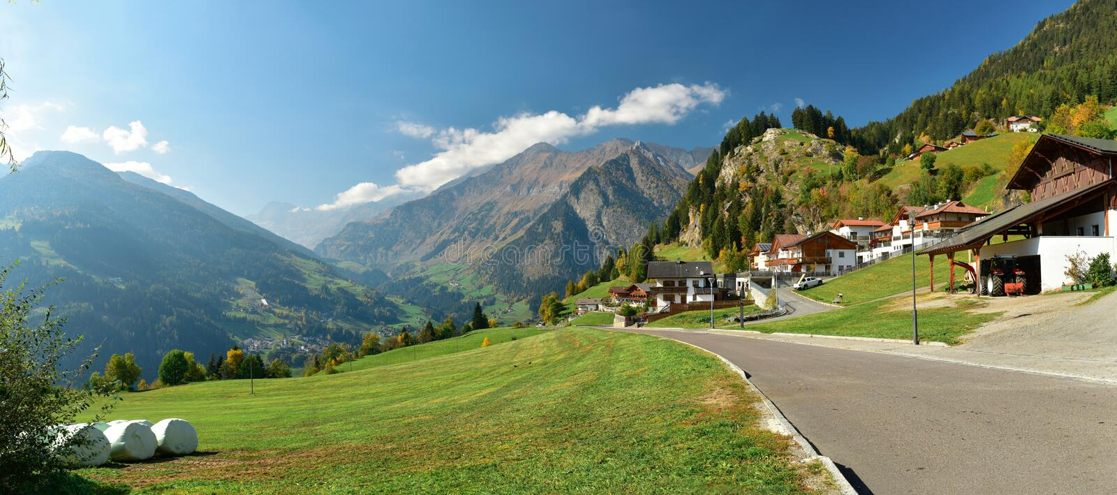 Panoramic view of alpine village of Stulles. South Tyrol, Italy stock photos