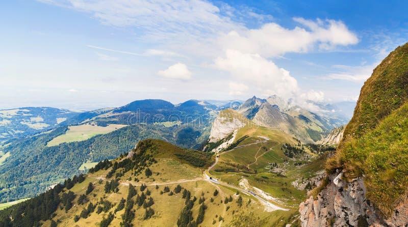 Panoramic view of Alps from the Rochers de Naye, Switzerland stock photo