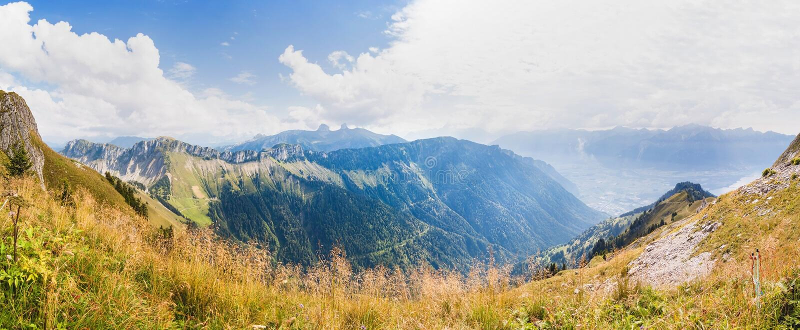 Panoramic view of Alps from the Rochers de Naye, Switzerland royalty free stock photos