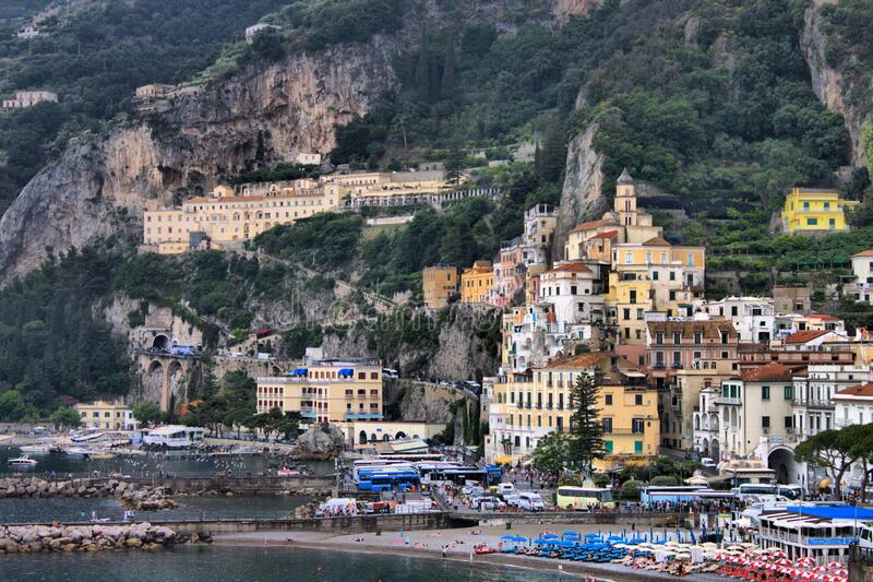 Panoramic view of Amalfi stock images