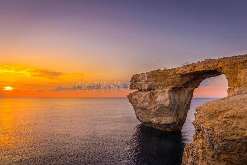 Panoramic View of Amazing Sunset over the Sea near Azure Window using as Wallpaper or Nature Background, Gozo, Malta royalty free stock photos