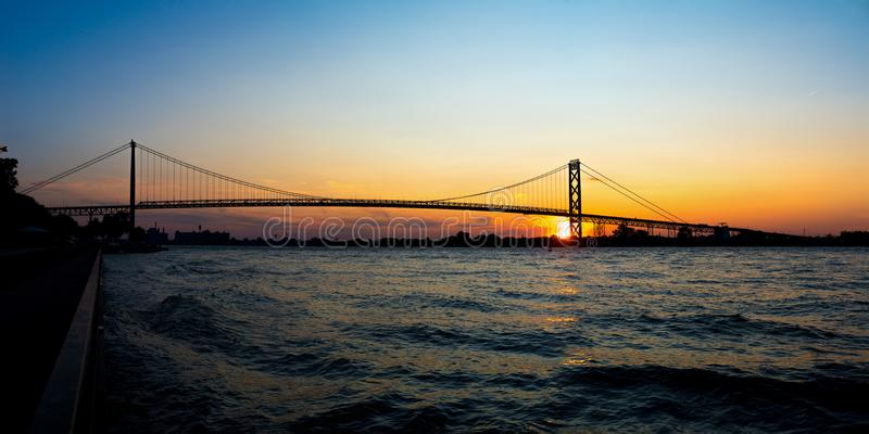 Panoramic view of Ambassador Bridge connecting Windsor, Ontario royalty free stock photography
