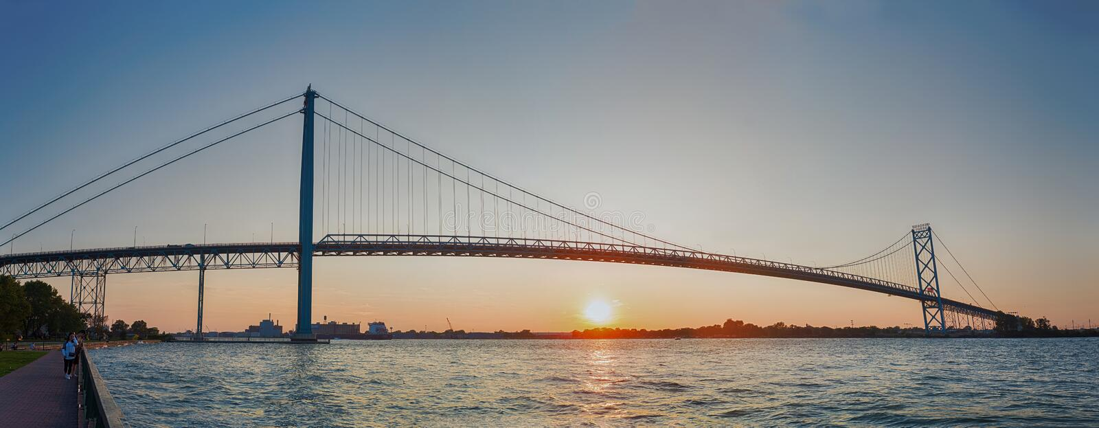 Panoramic view of Ambassador Bridge connecting Windsor, Ontario royalty free stock photo
