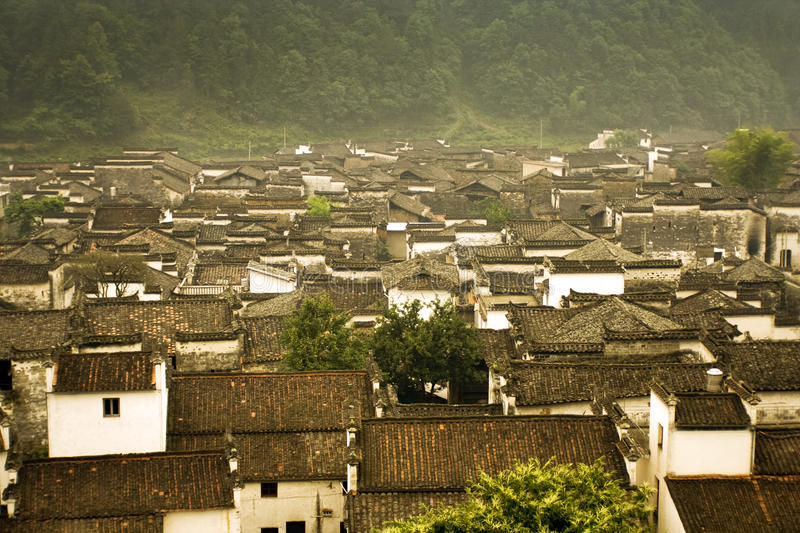 Panoramic view of an ancient Chinese village stock images