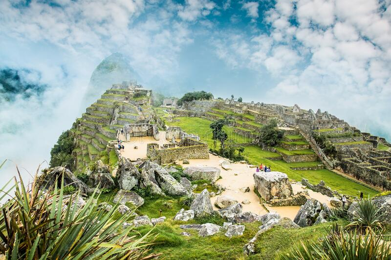 Panoramic view on Ancient city of Machu Picchu in Peru stock photography