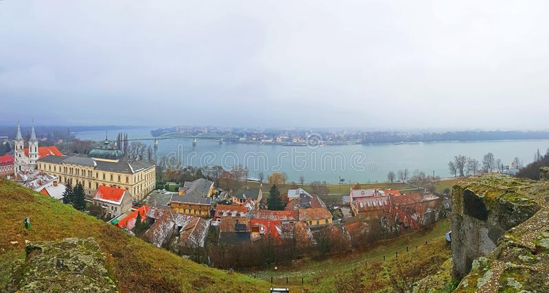 A panoramic view from ancient ottoman Esztergom castle walls royalty free stock images