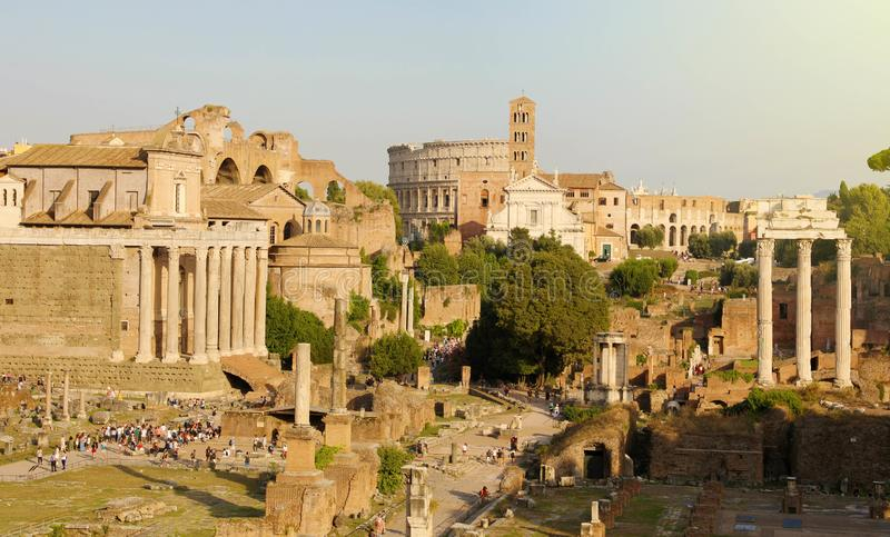 Panoramic view of Ancient Rome ruins. Cityscape skyline of landmarks of Rome famous travel destinations of Italy.  royalty free stock images