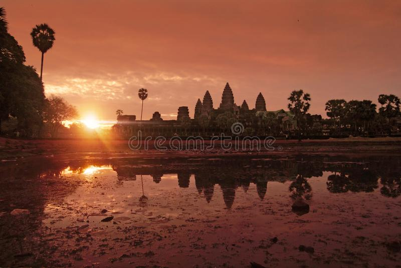 Sunrise at Angkor Wat Temple, Cambodia. Panoramic view of Angkor Wat Temple, Cambodia royalty free stock images