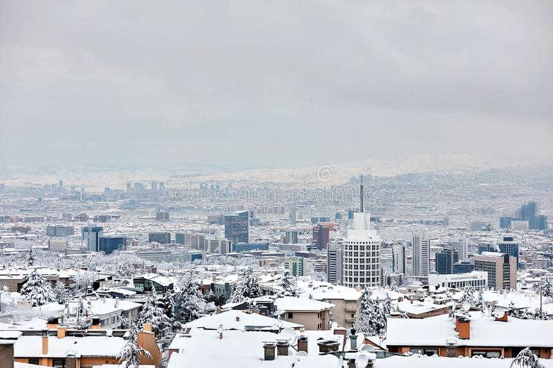 Ankara the capital city of Turkey covered with snow in winter stock photos