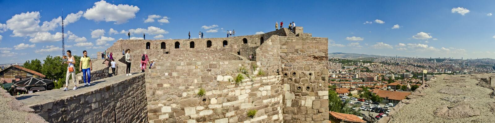 Panoramic view of Ankara Castle Kalesi. It is a fortification from the late antique / early medieval era in Ankara, Turkey stock images