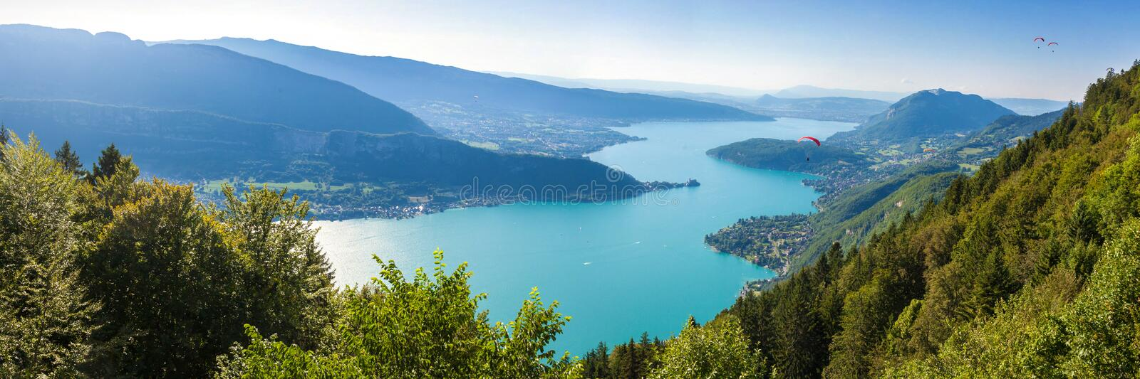 Panoramic view of the Annecy lake from the Col du Forclaz. Panoramic view of the Annecy lake from Col du Forclaz stock images