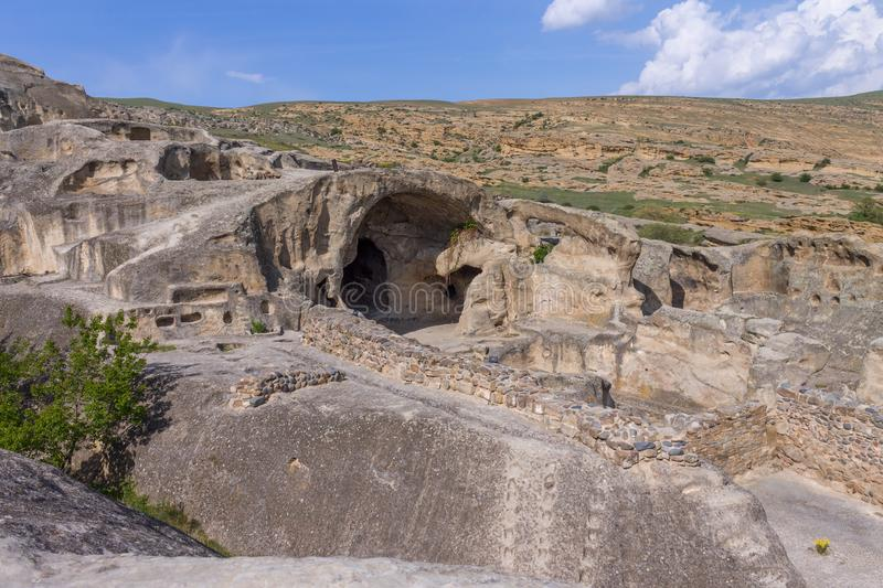 Panoramic view at Antique cave city Uplistsikhe stock photo