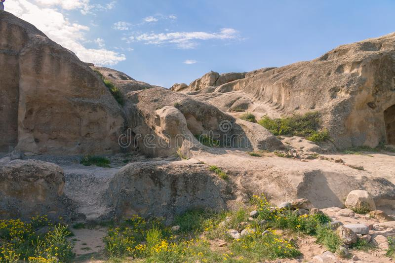 Panoramic view at Antique cave city Uplistsikhe. Shida Kartli Region, Georgia. Rock-hewn Town. UNESCO World Heritage Site stock photography