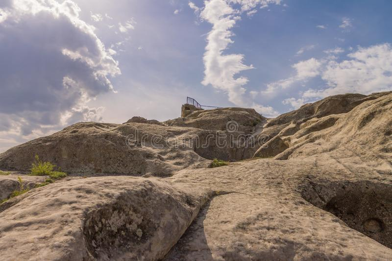 Panoramic view at Antique cave city Uplistsikhe stock images