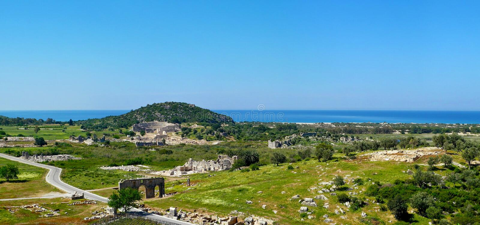 Panoramic view of the antique ruins in Patara, Antalya province, Turkey. stock photography