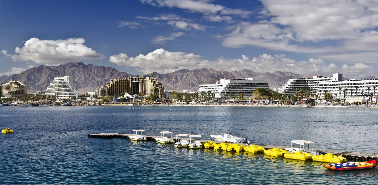 Panoramic view on the Aqaba gulf, Eilat, Israel. This shot was taken from the northern beach of Eilat city - famous resort and recreation center in Israel stock photo