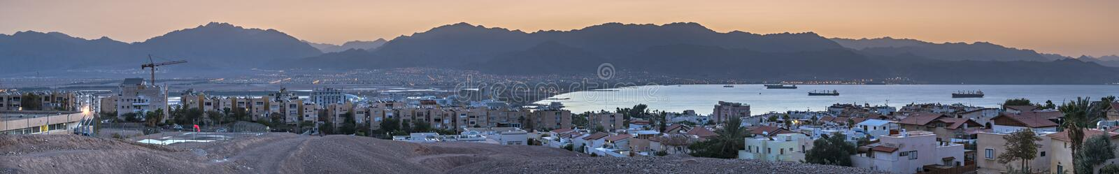 Panoramic view on the Aqaba gulf from Eilat stock images
