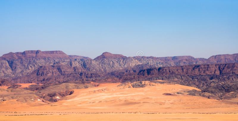 Panoramic view of the Arava valley: the border between Israel to the west and Jordan to the east and Wadi Rum drainage area stock photography