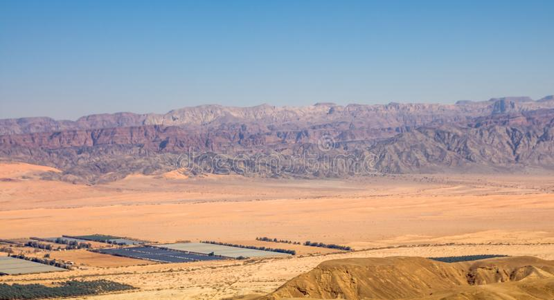 Panoramic view of the Arava valley: the border between Israel to the west and Jordan to the east and Wadi Rum drainage area royalty free stock photo
