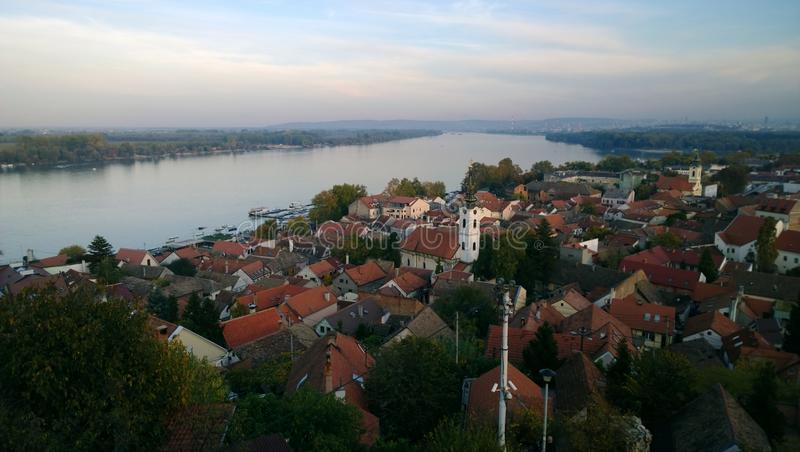 Panoramic view of the area of Zemun in Belgrade - the roofs of the small houses, the Danube royalty free stock photo