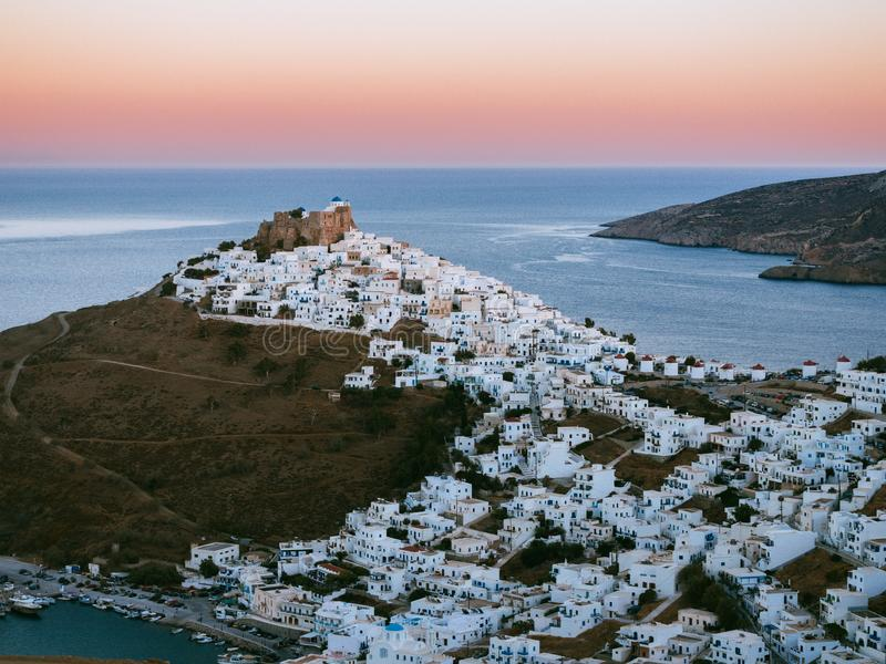 A panoramic view of Astypalaia Chora after sundown royalty free stock photos