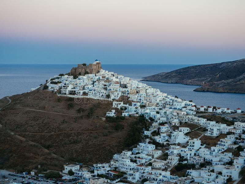 A panoramic view of Astypalaia Chora after sundown royalty free stock photo