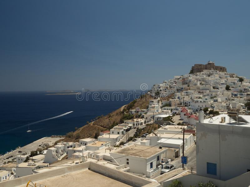 Panoramic view of Astypalaia stock photography