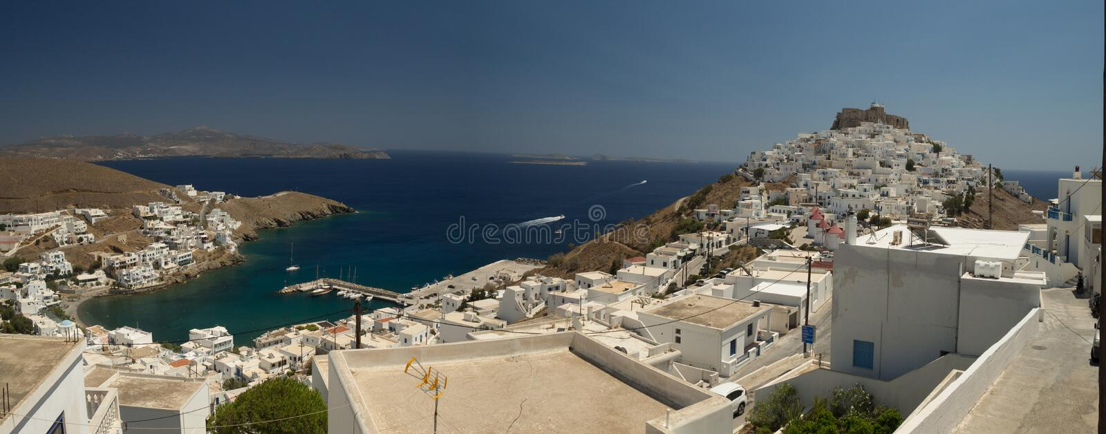 Panoramic view of Astypalaia royalty free stock images