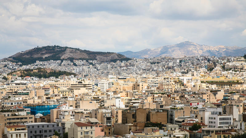 panoramic view of Athens city from Acropolis stock photos