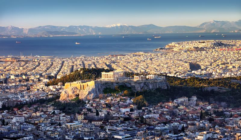 Panoramic view of Athens city from Lycabettus hill at sunrise To Acropolis, Greece royalty free stock photography