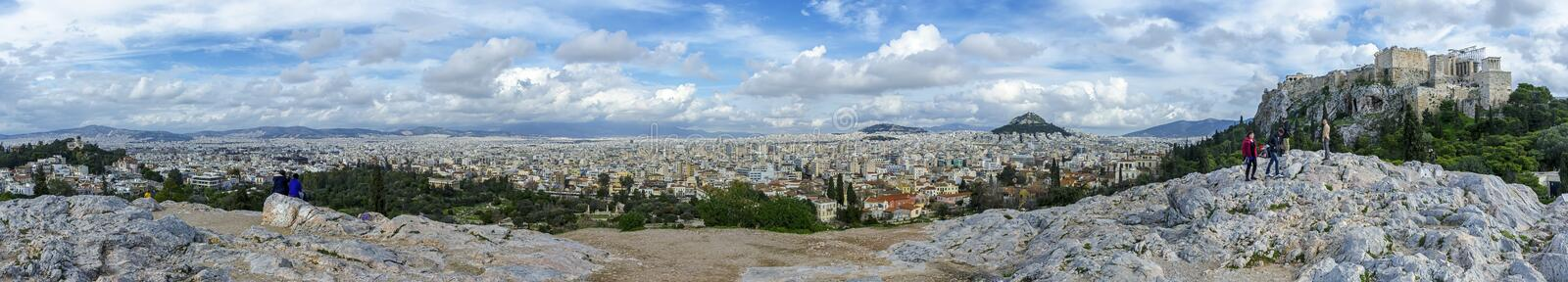 Panoramic view of Athens, Greece from the National Observatory of Athens left to Acropolis right. stock photography