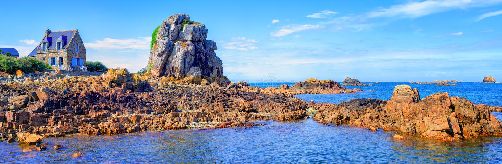 Panoramic view of the atlantic coast of English Channel, Brittany, France royalty free stock photo