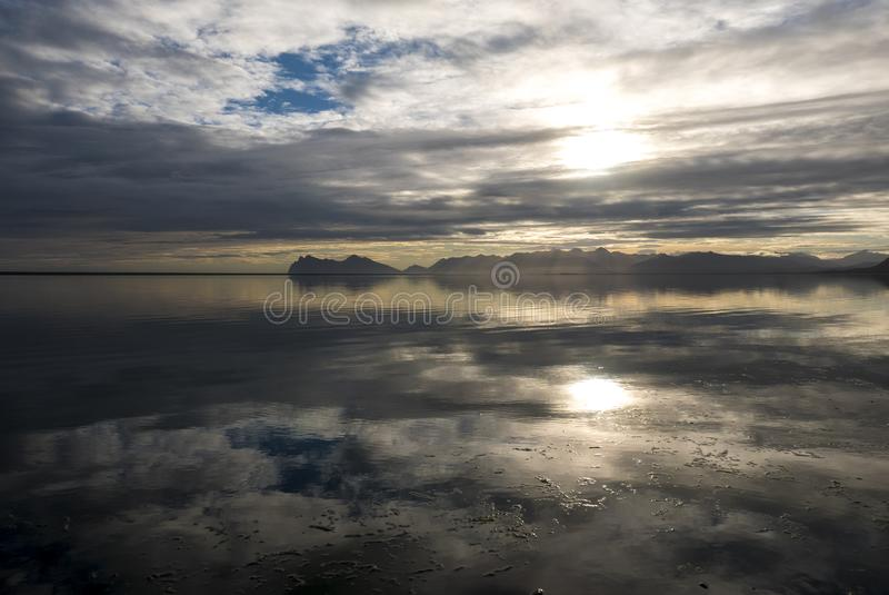 Ocean and mountains, amazing landscape of the East Fjords in Ice stock images