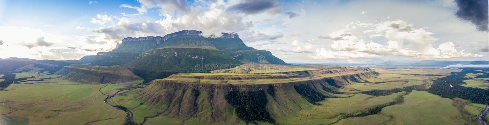 Panoramic View of Auyantepui Mountain, Venezuela stock images