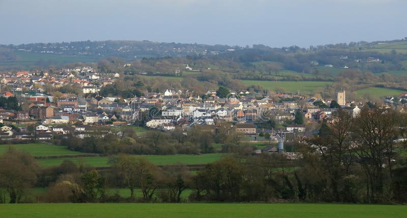 Panoramic view of Axminster. Panoramic view of market town Axminster in County of Devon royalty free stock photos