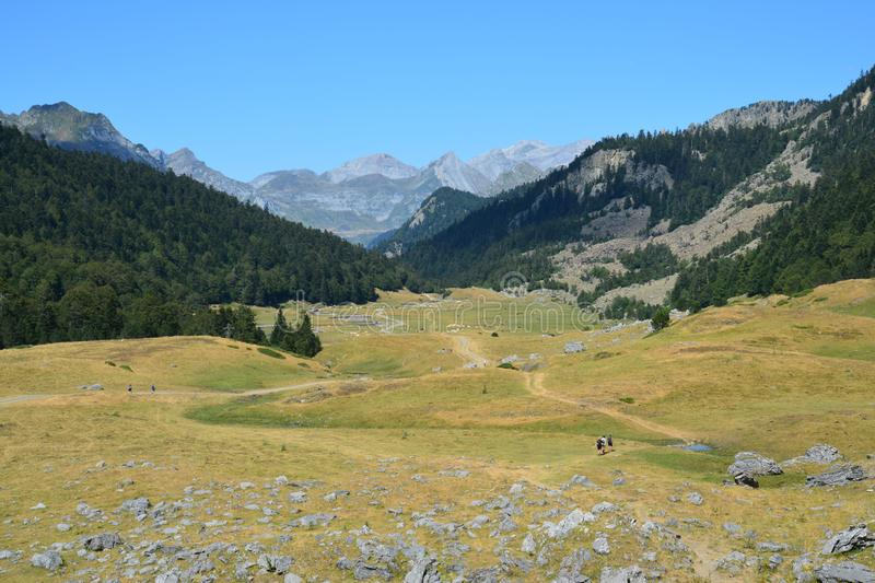 Panoramic View Ayous Valley in the Pyrenees in France stock image