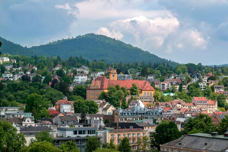 Panoramic view of Baden-Baden city center and the hills stock photo