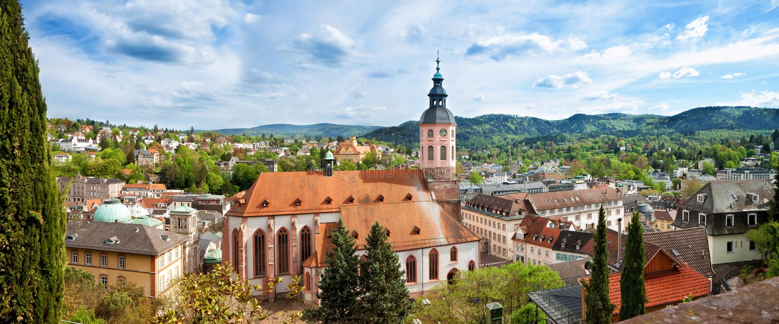 Panoramic view of Baden-Baden. Europe, Germany royalty free stock photography