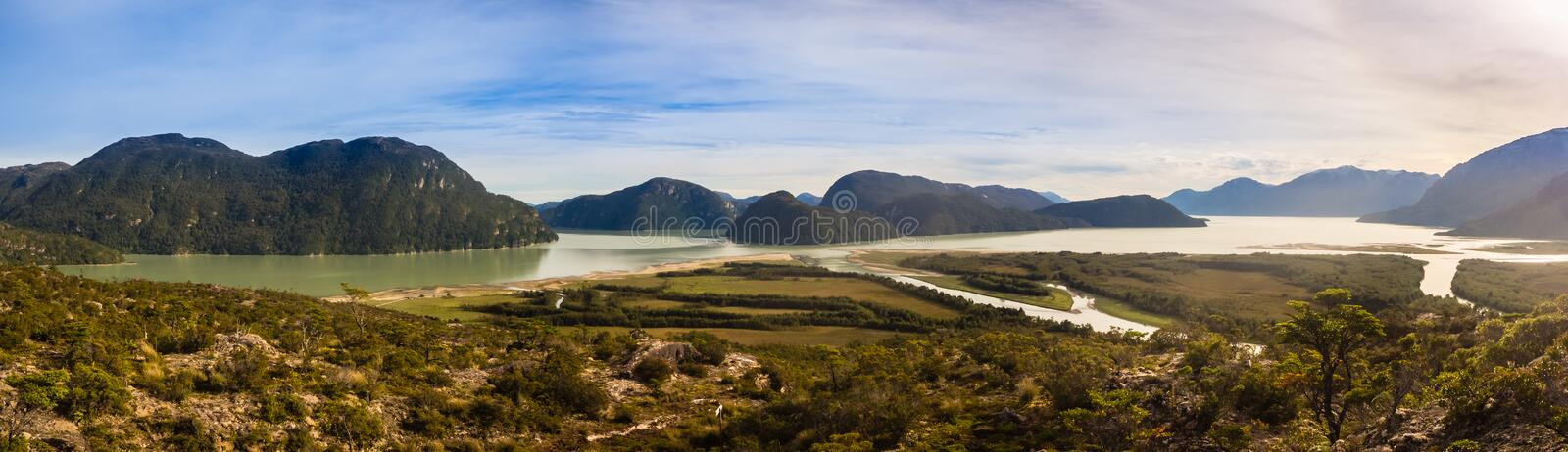 Panoramic view of Baker river mouth near of Caleta Tortel stock image