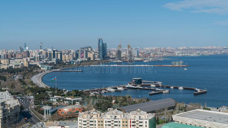 Panoramic view of Baku city, Azerbaijan royalty free stock photos